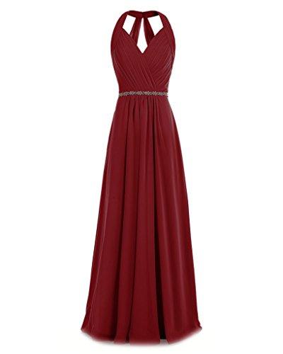 V Ruched Halter Bridesmaid Evening ASBridal Womens neck Burgundy Beading Long Dress Chiffon CtwtHxq8