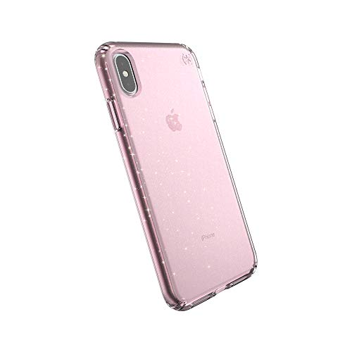 Speck Products Compatible Phone Case for Apple iPhone Xs Max, Presidio Clear + Glitter Case, Bella Pink with Gold Glitter/Bella Pink