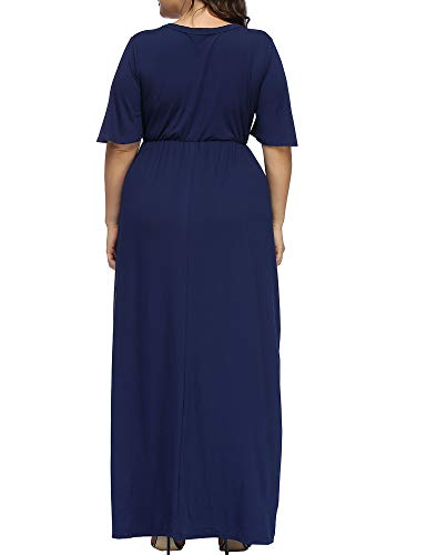 Neck up Plus Women's Blue Dress Button V Size Sleeve Maxi Allegrace Beach Dark Dresses Long Bell xFapIfnf