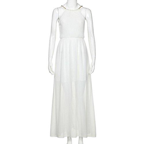 Largos Mujer de chiffón de Blanco Fiesta Mujer Manga Boda K Vestidos Largo Vestidos Vestidos hálter para sin Vintage Vestidos Mujer Vestido Noche youth Verano Cuello XL Vestido Mujer Elegantes SqxEOZxP
