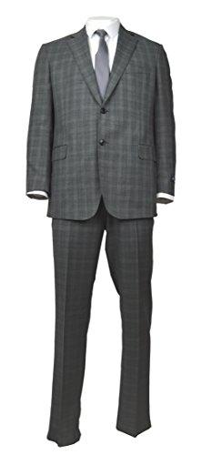 (Brooks Brothers Regent Fit Men's 100% Wool Blend Two Piece Suit Dark Grey Plaid (40R Regular 33W))