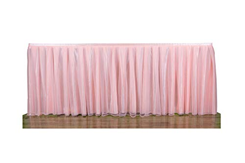 Memory Kidz 6 ft Pink Fluffy Elegant Tulle Table Skirt for Girl's Birthday Bridal Shower Tutu Table Cloth for Baby Shower Banquet Christmas Party Wedding Home Decoration (L72in, H30in) -