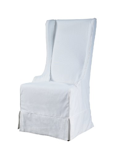 Padma's Plantataion Atlantic Beach Wing Dining Chair, Sunbleached White Linen