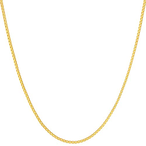 Lifetime Jewelry 1.4mm Box Chain Necklace for Women and Men 24k Real Gold Plated with Free Lifetime Replacement Guarantee (24)
