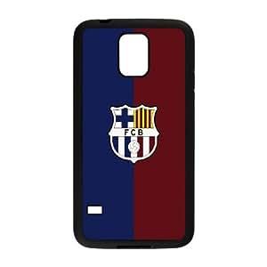 Caja del teléfono Samsung Galaxy S5 Funda Negro FC Barcelona Logotipo blanco N9F1NE plástico 3D Phone Case Funda