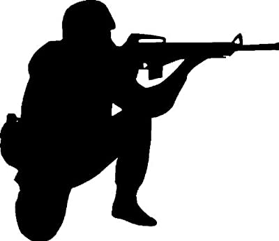 Design with Vinyl A1-HER (8)-96 Decor Item G. I. Joe Kneeling Military Boy Soldier Ready to Shoot and Fire in War Combat Home Decor Bedroom, 10-Inch x 14-Inch, Black