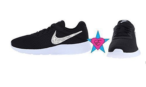 Black Glitter Sneakers Bling Nike Tanjun Shoes by Eshays