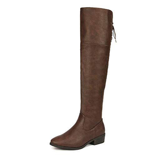 - DREAM PAIRS Women's LEI Brown Over The Knee High Low Block Heel Riding Boots Size 8 B(M) US