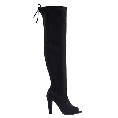 DasiaH3 Black F-Suede Over Knee/Thigh High Boots w Peep Toe, Chunky Block Heel & Rear Tie -7 by Forever Link