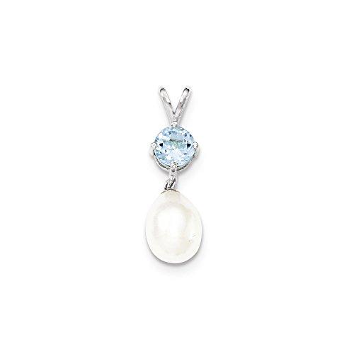 (West Coast Jewelry Sterling Silver Blue Topaz & 8-9mm Freshwater Cultured Pearl Teardrop Pendant)