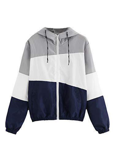 (SweatyRocks Women's Casual Color Block Drawstring Hooded Windbreaker Jacket Grey_Navy L)