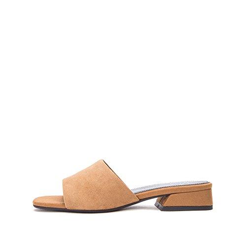 Donna Basso Pantofole Da Sandali albicocca Dhg Alti Tacchi A Alla Con Moda Basso Casual Estivi 39 Piatti Tacco qROwEEfI