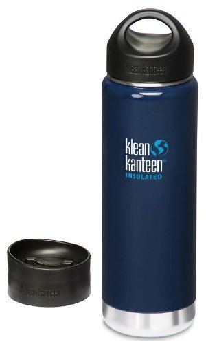 Klean Kanteen 20 oz. Wide Mouth Insulated Bottle with 2 Caps (Stainless Loop Cap and Cafe Cap)