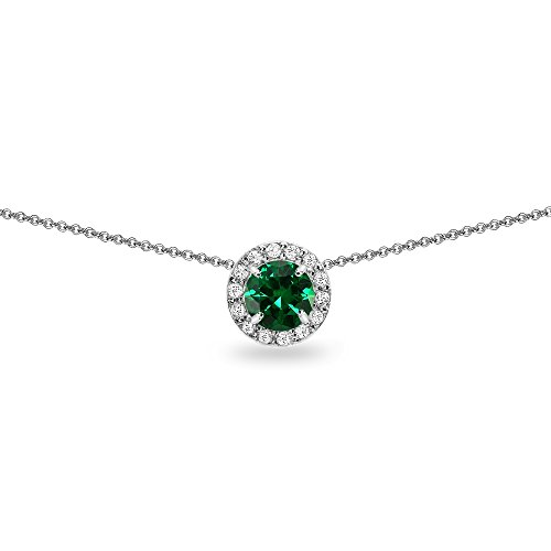 Sterling Silver Simulated Emerald and White Topaz Round Halo Slide Choker -