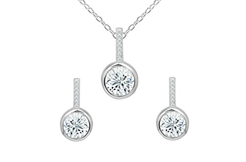 (NYC Sterling Women Bezel Cubic Zirconia Halo Stud Earring & Pendant Necklace Set Bridal Party)