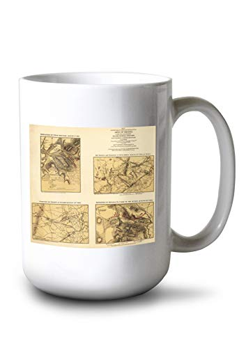 Lantern Press Second Battle of Bull Run - Civil War Panoramic Map (15oz White Ceramic Mug)