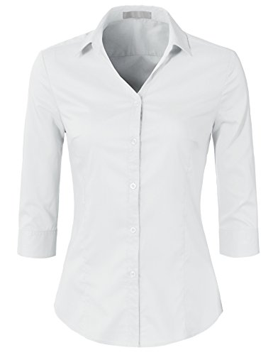 - H2H Womens Classic Solid 3/4 Sleeve Button Down Blouse Dress Shirt White XS (AWTSTS0366)
