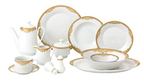 Royalty Porcelain Vintage Floral Gold 49-pc Dinnerware Set