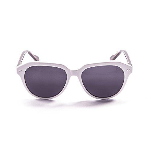 Ocean Sunglasses Mavericks Lunettes de Soleil Mixte Adulte, Shiny White/Demy Brown/Smoke Lens