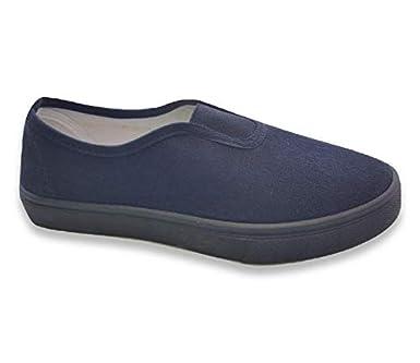 e7d5d52ed67 HuntaDeal Boys Girls Kids Adults Black School Uniform Pe Pumps Unisex Gym  Plimsolls Trainers Velcro Slip On Elasticated Gusset Shoes Anti Slip Anti  Mark  ...