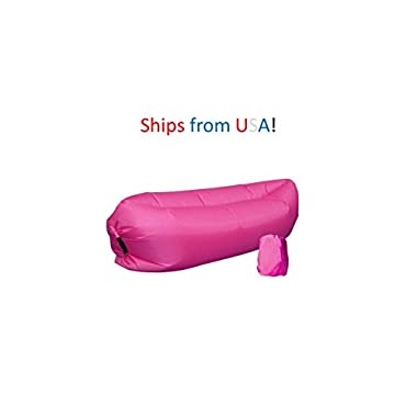Inflatable Outdoor Air Sleep Sofa Couch Portable Furniture Sleeping Hangout Lounger Imitate Nylon External Internal PVC for Summer Camping Beach (Pink)