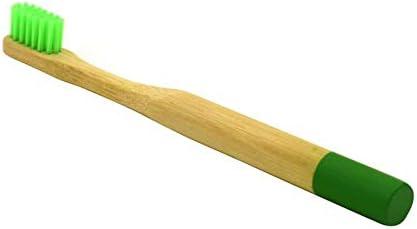 KATH 1個キッズ歯ブラシ柔らかい毛木製歯ブラシナチュラルバンブーハンドルデンタルオーラルケアエコフレンドリートラベル歯ブラシ (Color : Round Green Handle)