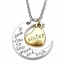 #6(sister) I Love You To The Moon And Back Family Member Engraved Letter Necklace Bracelet by Mochimoru