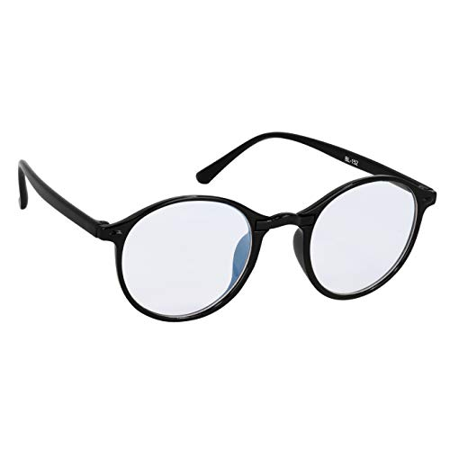 elegante Light Weight Anti Glare Black Round Computer Sunglasses for Women and Men