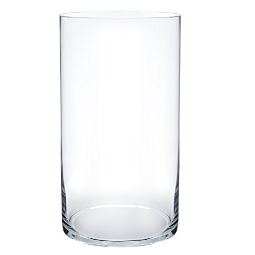 Flower Glass Vase Decorative Centerpiece For Home or Wedding by Royal Imports - Cylinder Shape, 10