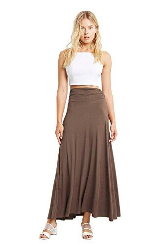 Jersey Maxi Long Skirt (Poshsquare Women Rayon Maxi Ruched High Waist Comfy Long Skirt Plus Mocha XL)