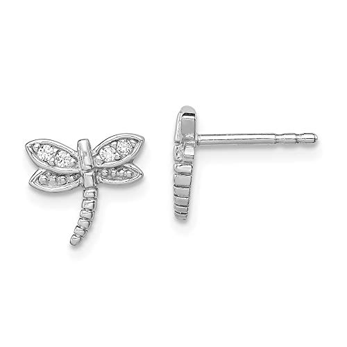 - 925 Sterling Silver Cubic Zirconia Cz Dragonfly Post Stud Earrings Ball Button Animal Insect Fine Jewelry Gifts For Women For Her