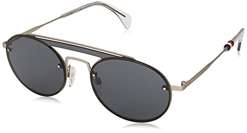 Tommy Hilfiger Women's Th 1513/s Round Sunglasses, Palladium/Grey Blue, 99 mm