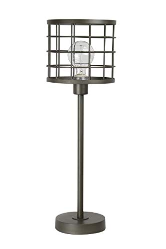 """Grandview Gallery 24.5"""" Industrial Cast Iron Table Lamp ft. Unique Welded Metal Cage Shade and Visible Edison Bulb (Included) - Versatile Modern Industrial Lighting"""