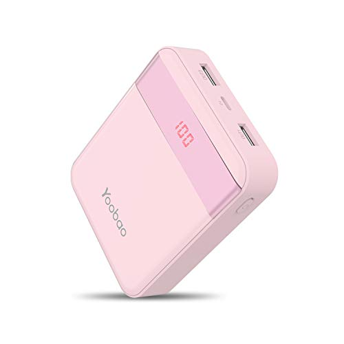 Power Bank 10000mAh Yoobao Compact Portable Charger External Cell Phone Battery Backup (LED Display, Dual Output, Dual Input) Compatible iPhone X 8 7 6 Plus Samsung Android Smartphone & More - Pink