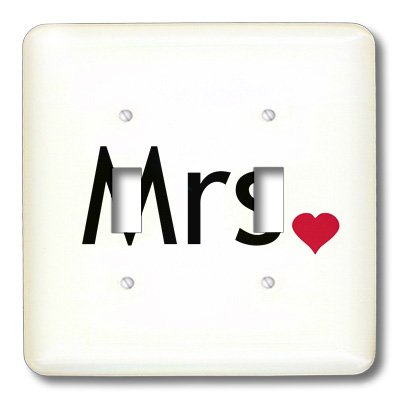 3dRose lsp/_112858/_2 Mrs with red love heart part of Mr and Mrs set for a romantic couple just married valentines day Double Toggle Switch