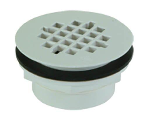 (EZ-FLO 15303 PVC No-Caulk Replacement Drain Strainer/Stopper for Shower Bathtub, White, 2-Inch Grid)