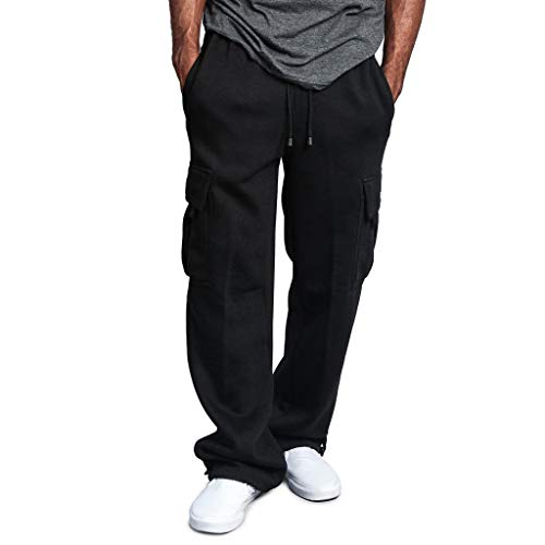 Men's Gym Fitness Workout Pants Bodybuilding Cargo Jogger Pants Chino Trousers Sweatpants Drawstring Working Pants Black