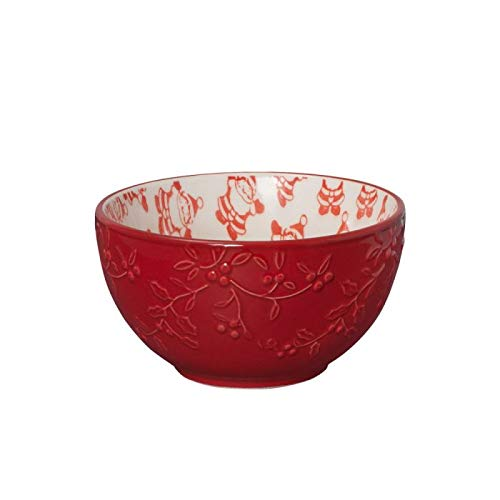 Pfaltzgraff Winterberry Jolly Santa Pad Print Fruit Bowl