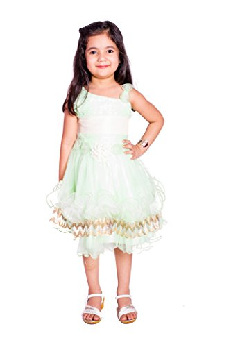 fabkidzz Light Green Pearl Dress - Pari -