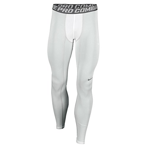 NIKE Pro Combat Core Compression 2 Running Tight, White, Large, 449822 100