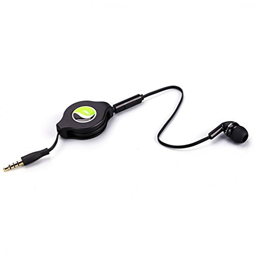 Mono Retractable Premium Sound Handsfree Single Earbud Mic Headset for iPhone 6 6S, Plus, 5S 5C 5, iPad Air Pro Mini - Samsung Galaxy Note 5 4 3 2, Galaxy S7 Edge S6 S5 S4 - All Smartphones, Tablets