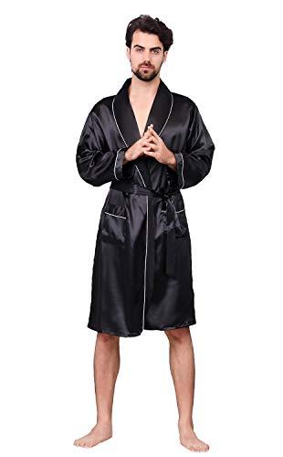 OEAK Men's Shawl Collar Kimono Bath Robe Silk Satin Kimono Sleepwear Black with White Piping No Shorts US XXL Black White Mens Sleepwear