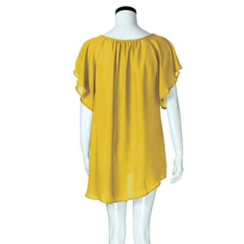 Manche Courtes Cou Dentelle lgant Casual Blouse V Chic Classique Chemisier Costume Gelb Oversize Manches Large Fleur Et Femme Blouse Mince Tops Mousseline Mode Uni xFwPOzWqpZ