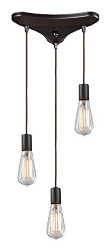 Elk 60046-3 Menlow Park 3-Light Pendant Oiled Bronze With Clear Blown Glass Shade