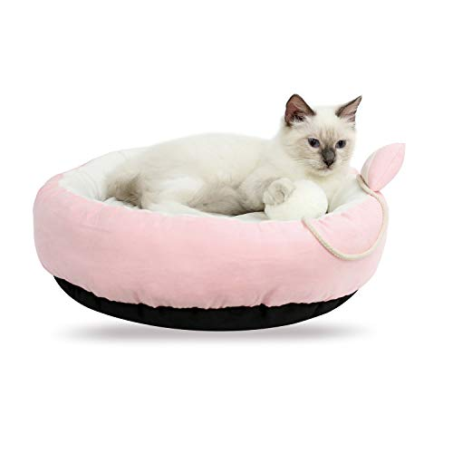 Cat Bed Washable Pet Bed for Cats, Kittens, Puppies and Small Dogs / 18.5 inch Round Pet Bed with Waterproof Bottom For Sale