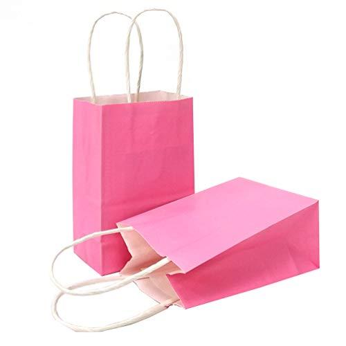AZOWA Gift Bags Mini Kraft Paper Bags with Handles(Light Pink, 25 Pcs)