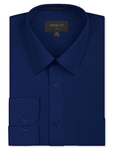 (Ward St Men's Regular Fit Dress Shirts, 4XL, 20-20.5N 36/37S, Navy)