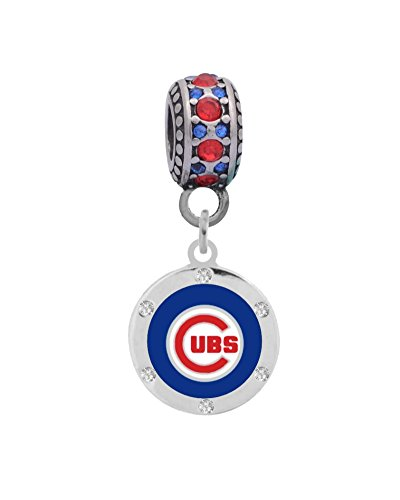 Chicago Cubs Round Crystal Charm Fits Most Bracelet Lines Including Pandora, Chamilia, Troll, Biagi, Zable, Kera, Personality, Reflections, Silverado and More ...