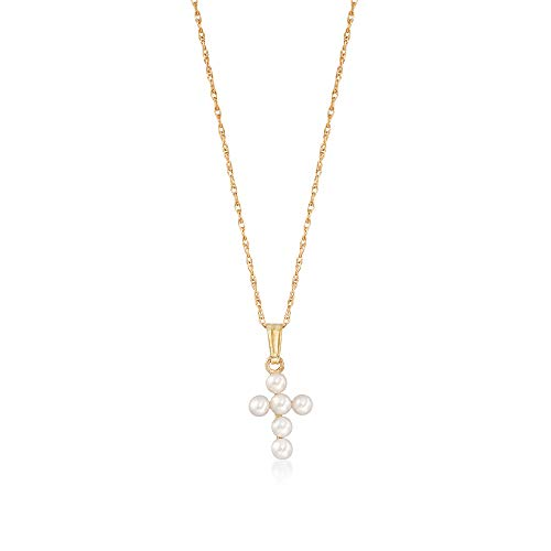 Ross-Simons Child's 2.5-3mm Cultured Pearl Cross Pendant Necklace in 14kt Yellow Gold Cultured Pearl Yellow Cross