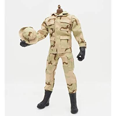 "1/6 Scale Brown Uniforms Clothes Soldier for 12"" Male Military Action Figure Body Cloth for Doll: Toys & Games [5Bkhe1100610]"
